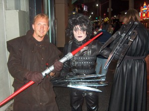 Edward Scissorhands and Abe R. Rated on Hollywood Blvd.